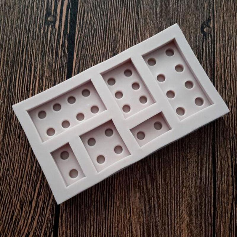 6 Полость домино силиконовая форма для торта и шоколада помадка Конфеты Мыло Формы Декоративные Инструменты для выпечки MF387