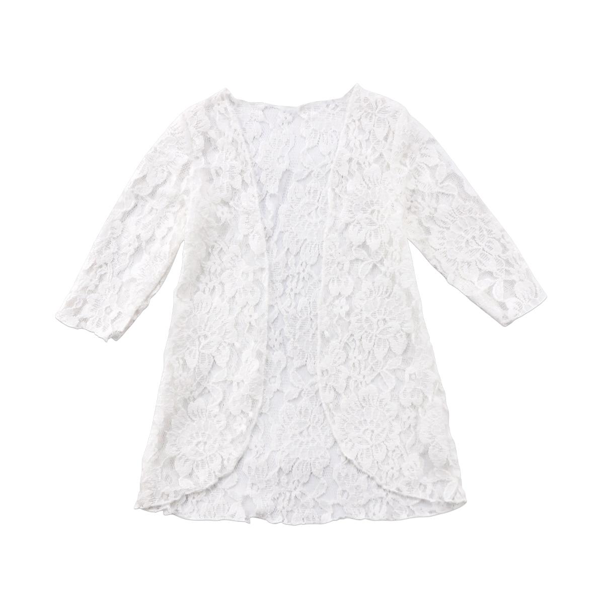Пляжное платье для маленьких девочек кружевное с защитой от солнца верхняя