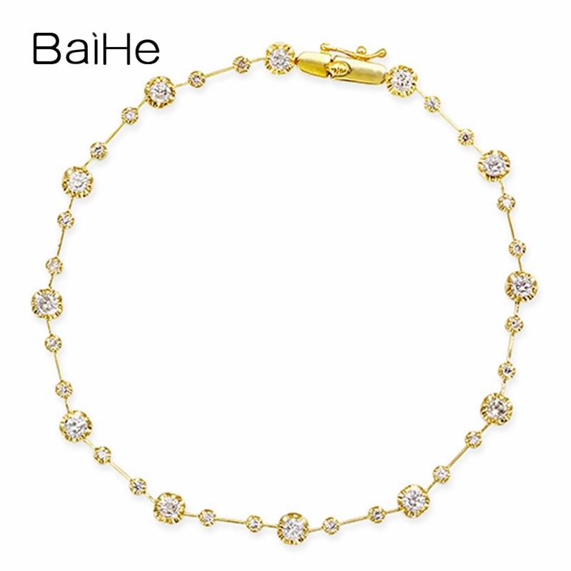 Baihe solid 14 k ouro amarelo 1ct h/si diamantes naturais casamento mulheres na moda jóias finas presente exclusivo pulseira de diamante