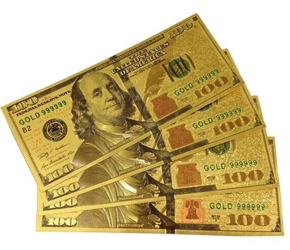 10pcs United States OF America Money Bill Collection USA 100 Dollars Banknote Gold Foil Bill Currency Collections Gift Banknotes