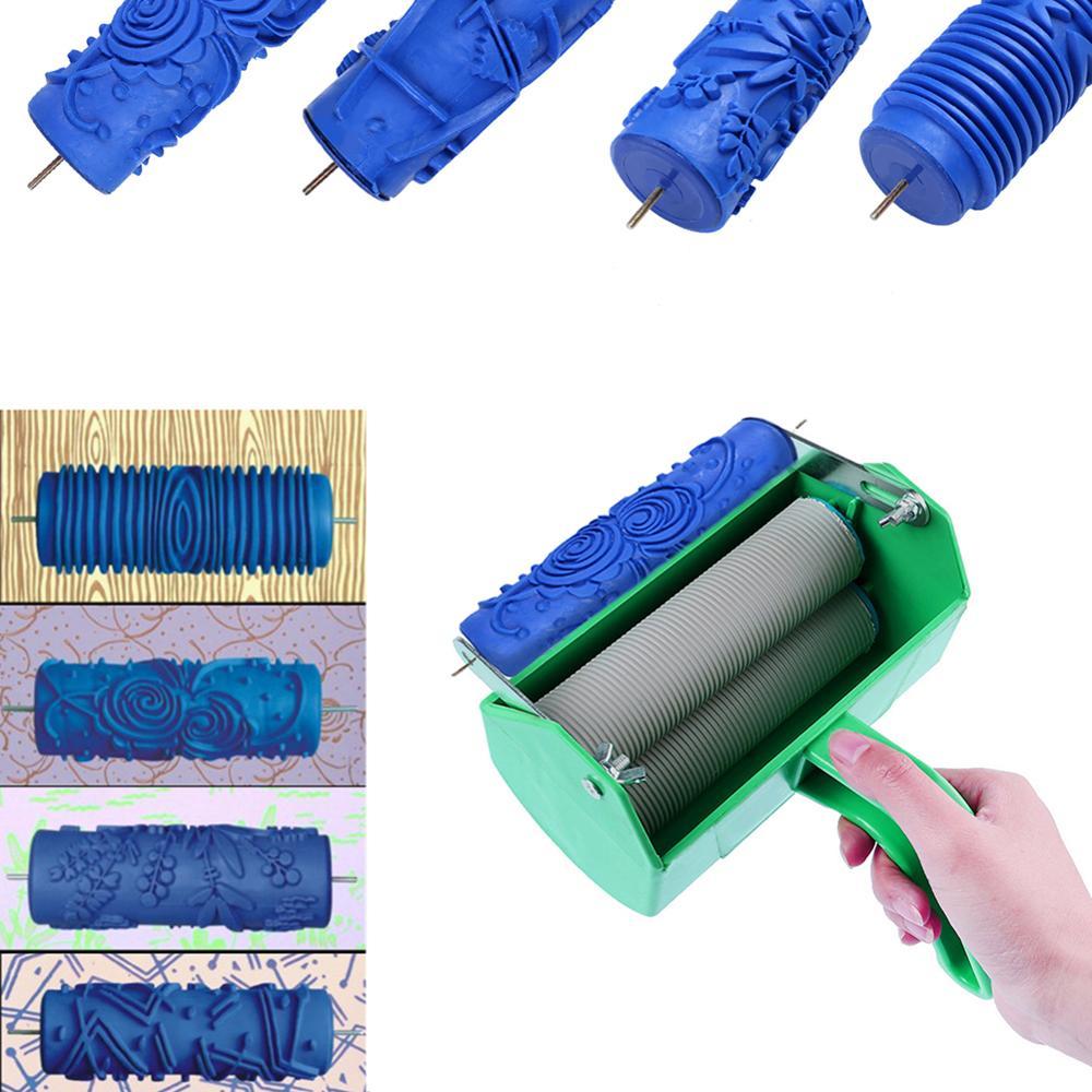 Cepillo rodillo de pintura de goma suave, herramienta de decoración de arte de la pared DIY