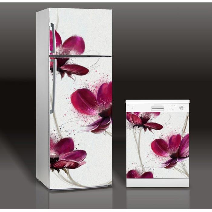 Fridge Sticker Drawing Floweres Refrigerator Dishwasher Door Cover Kitchen Home Decoration Accessories Modern 3d Wall Stickers