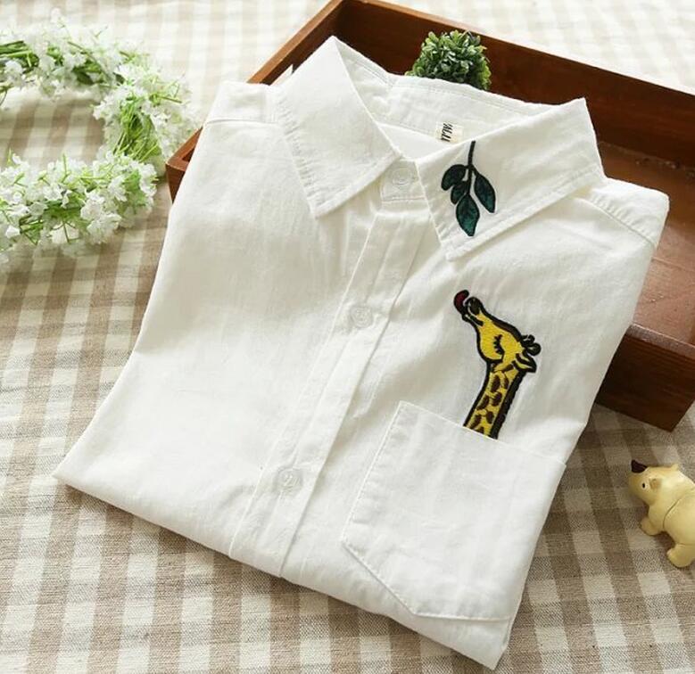 2019 primavera nueva mujer moda manga larga cuello vuelto Camisas Blusas blancas dulce bordado jirafa partes de arriba de hojas camisa