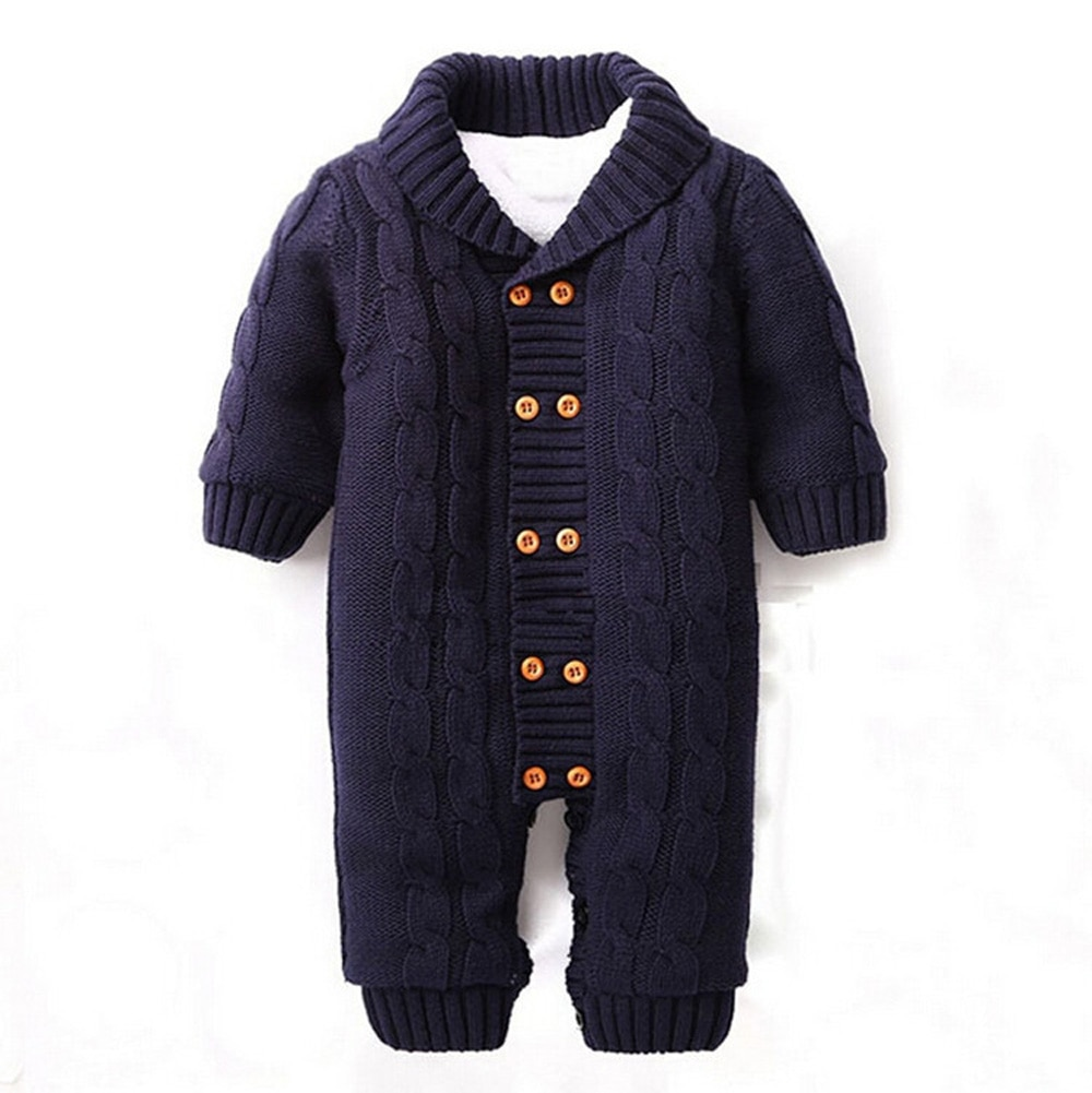 Invierno recién nacidos bebé peleles de botón de solapa de punto grueso suéter mono de terciopelo de moda abrigo CL0757