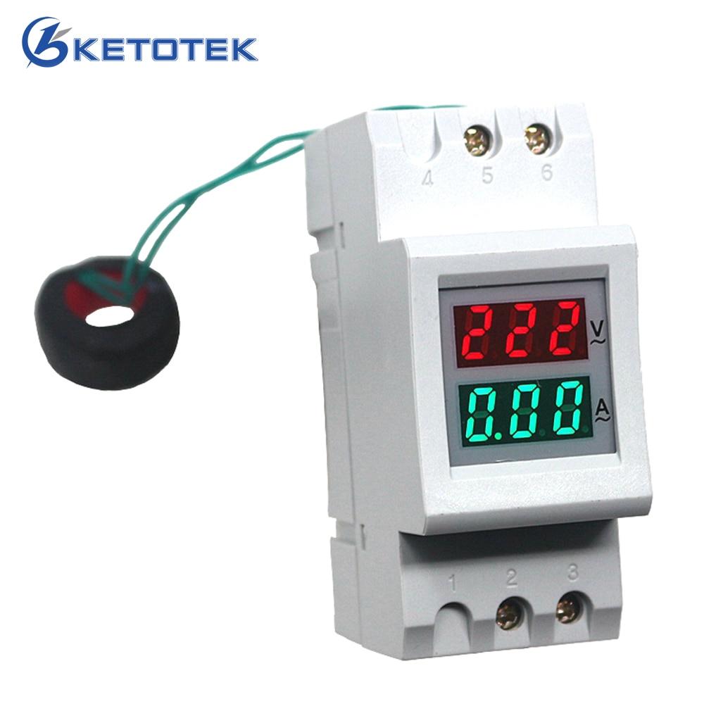 Carril Din Digital medidor de corriente de voltaje AC voltímetro amperímetro AC 80,0-300,0 V AC/AC 200,0-450,0 V 100A de monitor de amplificador