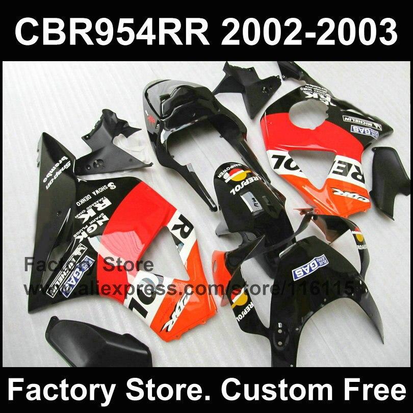 Carenados de REPSOL personalizados para HONDA CBR900RR 2002 2003, kit de carenado por inyección negra fireblade, CBR 954 RR 02 03