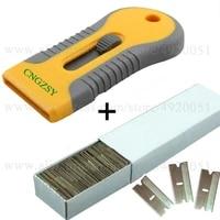 automotive glass glue scraper ceramic oven glass clean shovel cutter with 100pcs carbon steel razor blades 1 5 edged tip k42