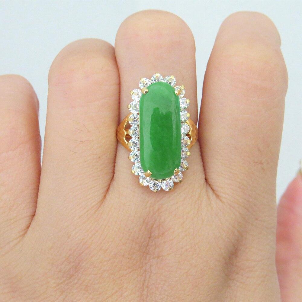 خاتم زواج من الذهب الأصفر عيار 14 قيراطًا ، خاتم خطوبة من اليشم الأخضر الطبيعي والأبيض المويسانتي ، مجوهرات راقية