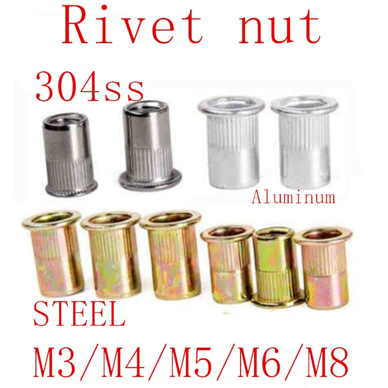 20pcs 10pcs  M3 M4 M5 M6 M8 stainless steel Rivet Nut Carbon Steel Aluminum Flat Head Insert rivet Nut