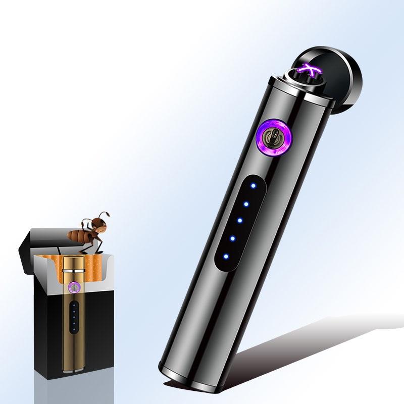 Мини цилиндрическая USB зарядка Электронная зажигалка сенсорный сенсор переключатель сигарета зажигалка плазменная ветрозащитная зажигалка