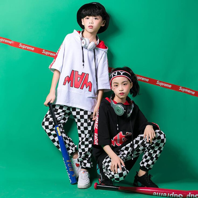 Girls Boy Loose Tshirt Jazz Dancing Costumes Clothing Suits Kids Hip Hop Dance wear Outfits Stage we