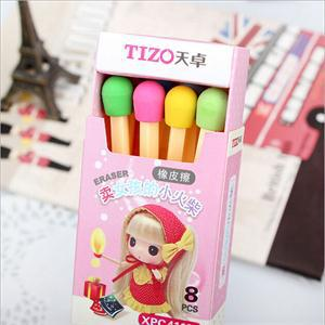 8 pcs/lot fashion Creative (1 box) Kawaii Matches Eraser Lovely Colored Eraser for Kids Students Gift