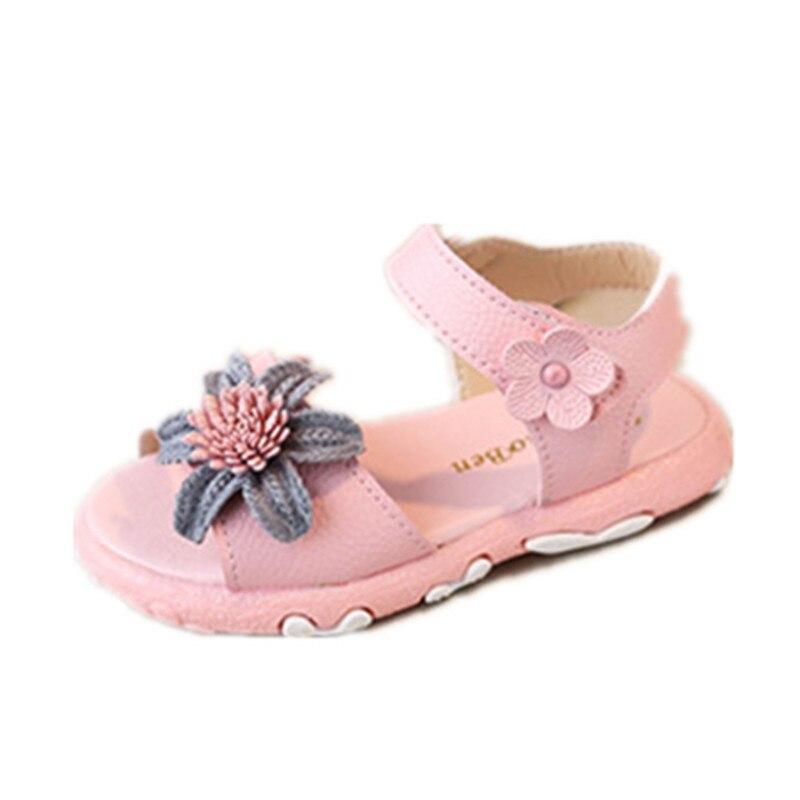 Sandalias de estilo veraniego para niños pequeños, sandalias para niñas con flor de princesa para niñas, sandalias sólidas para niñas, sandalias de talla para niños de 21 a 30