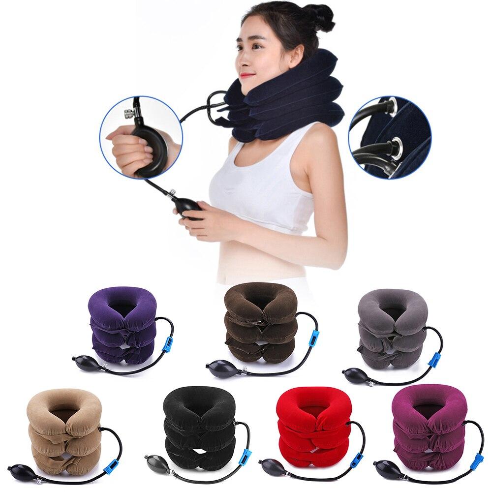 Almohada inflable en forma de U, cuello de tracción, dispositivo de estiramiento Cervical suave, almohada Cervical de aire, 3 capas para cuello y hombro