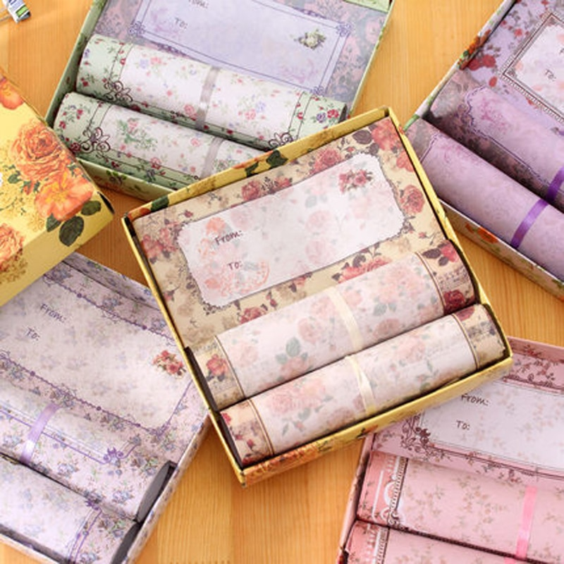 Korean Version Lovely Flowers Beautiful Color Stationery Exquisite Elegant Boxed Romantic Holiday Envelopes Set Mail