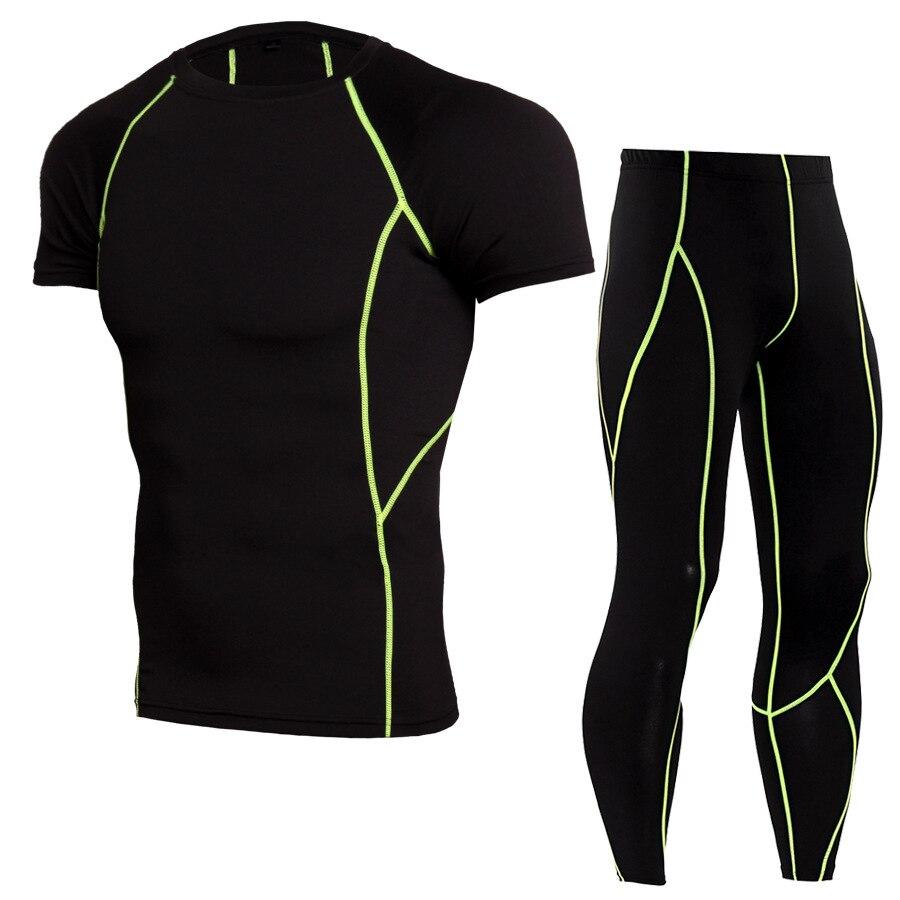 2018 nuevo chándal de compresión, ropa deportiva ajustada para correr, Conjunto de camiseta, Leggings, ropa deportiva para hombre, traje deportivo para gimnasio Demix