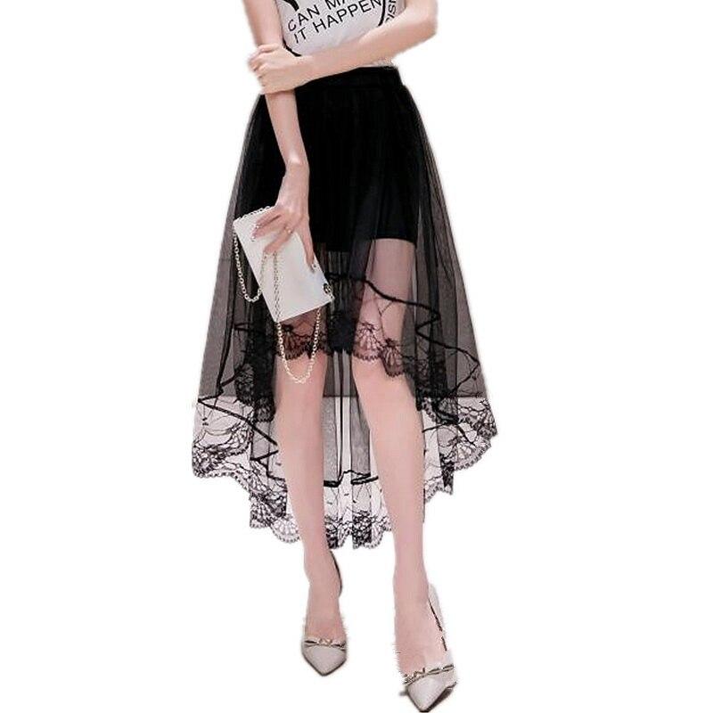 Verão feminino saia irregular swallowtail saia casual verão fio líquido moda feminina saias de renda grande seção longa saia 5sa56
