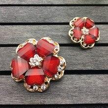 4 Pcs/lot diamètre 25/35MM haute qualité grand rouge strass vêtements vêtements bouton cachemire vison manteau bouton décoration C005