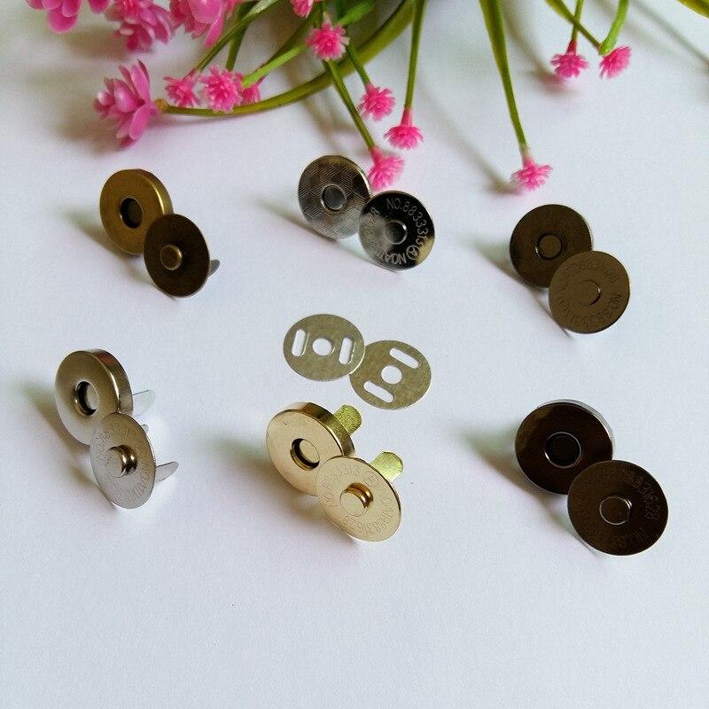 5 set/lote 18mm bronze/prata/ouro/preto metal ímã botão para sacos magnética bolsa saco roupas costura scrapbooking