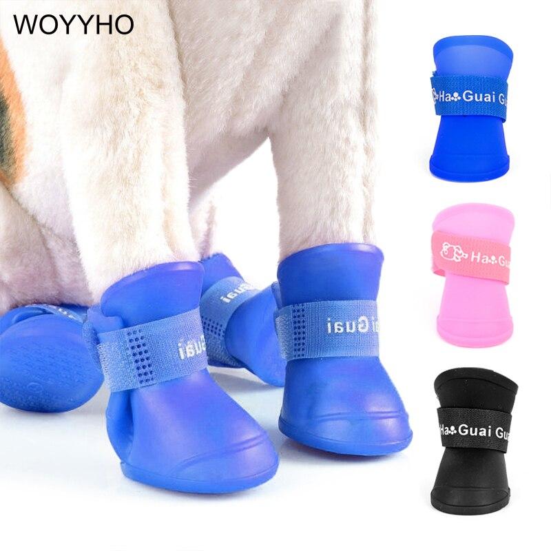4pcs/Set Waterproof Pet Dog Shoes Blue/Black/Pink Rubber Rain Boots Shoes For Small Dogs Cat S/M/L