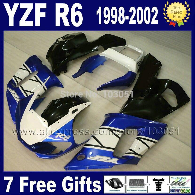 Kit de carenado de motocicleta para YAMAHA YZF R6 1998, 1999, 2000, 2002, azul blanco negro R6 98 00 01 02 carenados genéricos