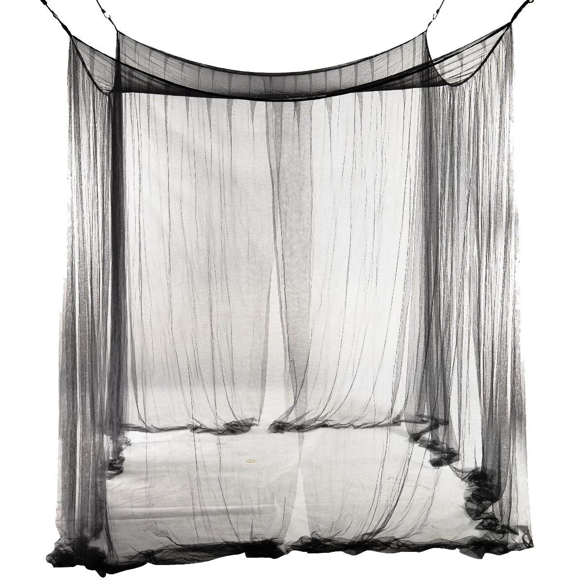 Novo 4-canto cama rede dossel mosquiteiro para cama queen/king size 190*210*240cm (preto)