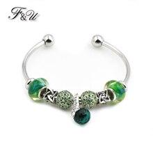 F & U Europe et états-unis Bracelet populaire Style exotique papillon pendentif Greent résine pierres Style ethnique Bracelet 2 taille disponible