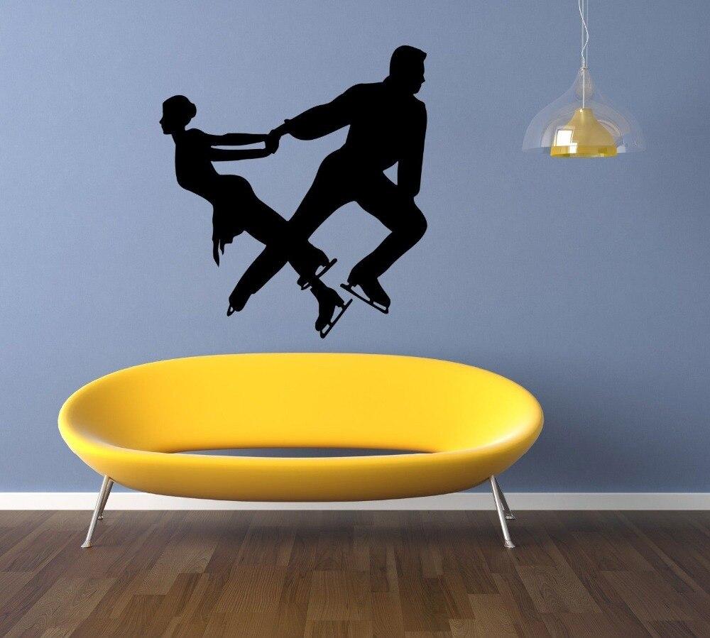Adhesivo de pared para gimnasia, ejercicio, ocio, para ventana, paquete de una sola pieza, patrón moderno, patinaje, deporte, plástico LXS