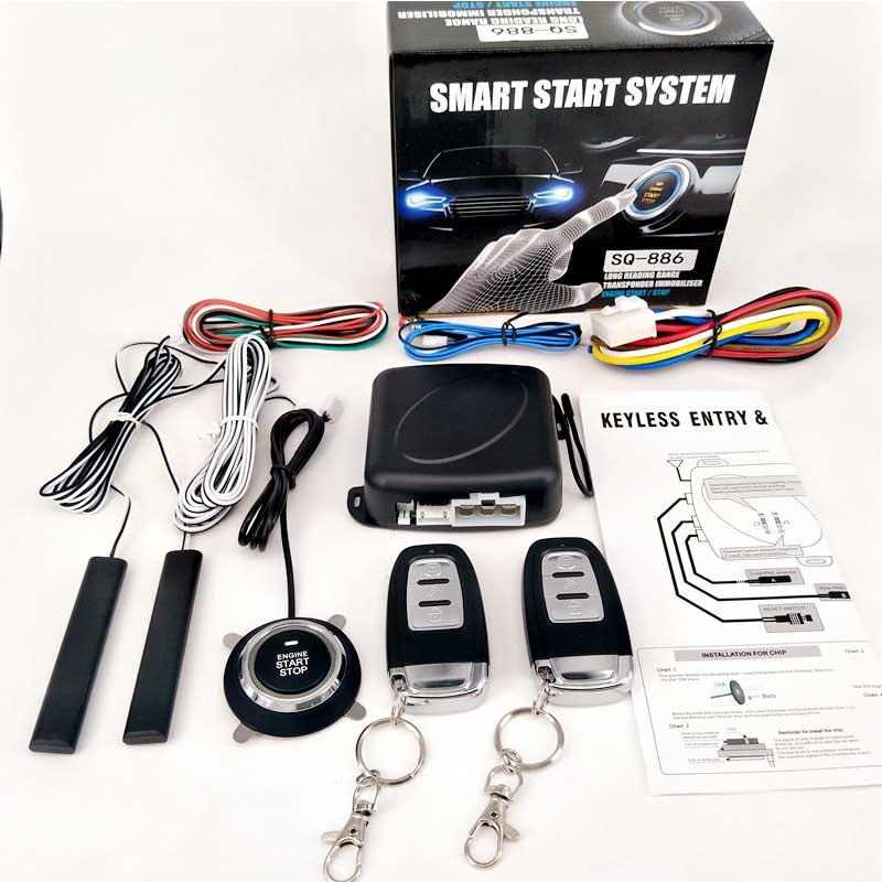 universal pke car alarm system with remote start car push button start passive keyless entry auto central control door lock Auto Central Locking Passive Keyless Entry System Engine Push Button Vehicles PKE Start/Stop Lock With 2 Smart Key Remote Start