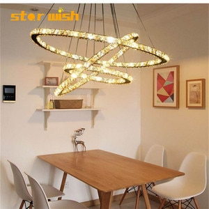 Star wish LED Crystal Chandelier  Ring Hanging  Lamp Circle for Kitchen Dining Room Living Room Light Fixture 3 colour