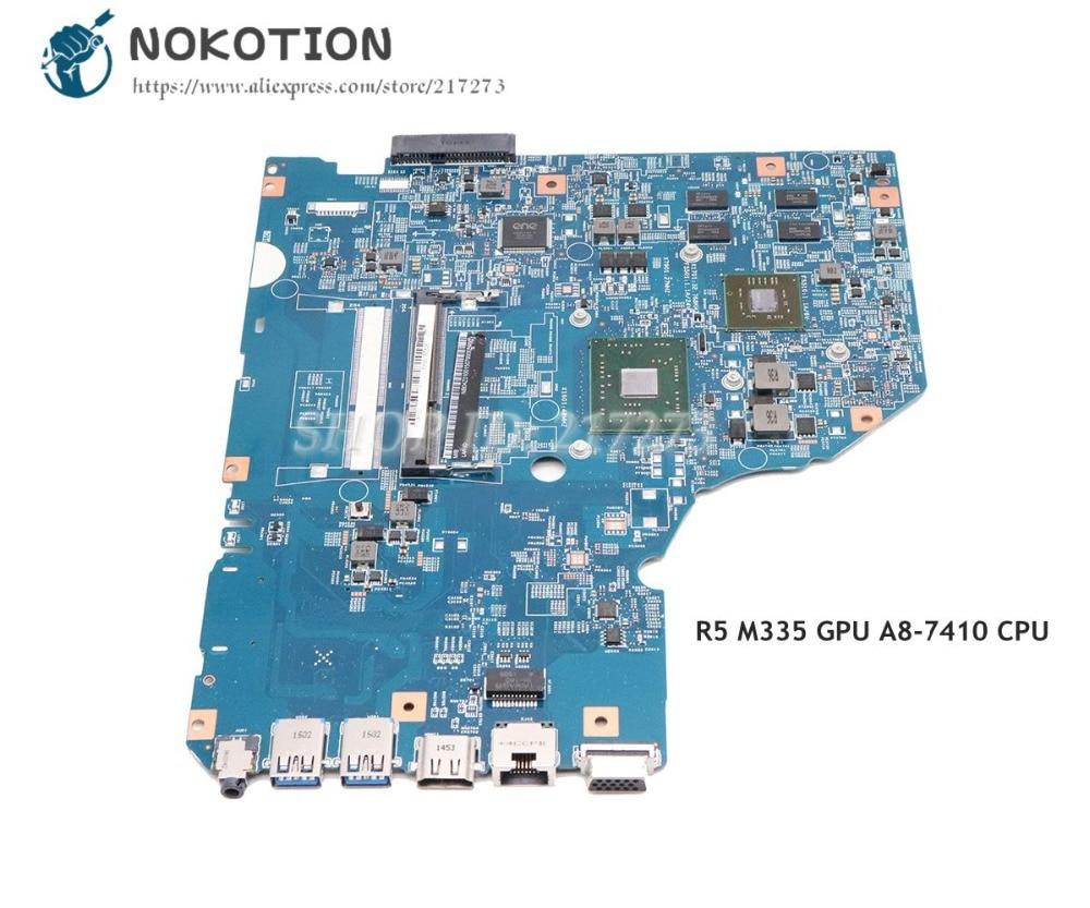 NOKOTION لشركة أيسر أسباير E5-722 E5-722G اللوحة المحمول R5 M335 GPU A8-7410 CPU DDR3 NB04Z01001 NB.04Z01.001 448.04Y03.0011
