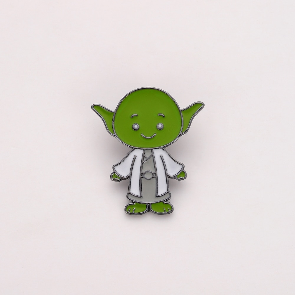 Star Wars Jedi Knight Master Yoda Pin the Force Awakens Jedi Action Figure Toys Enamal Brooch Gift Jewelry 20 pcs/lot Wholesale