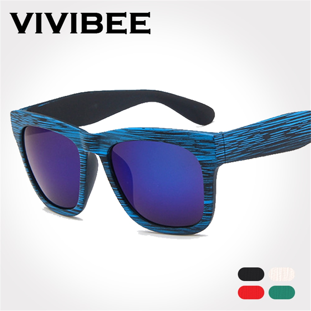 VIVIBEE lunettes de soleil à monture bleue   Imitation bambou, lunettes pour hommes et femmes, Style Vintage, lunettes à la mode, nuances