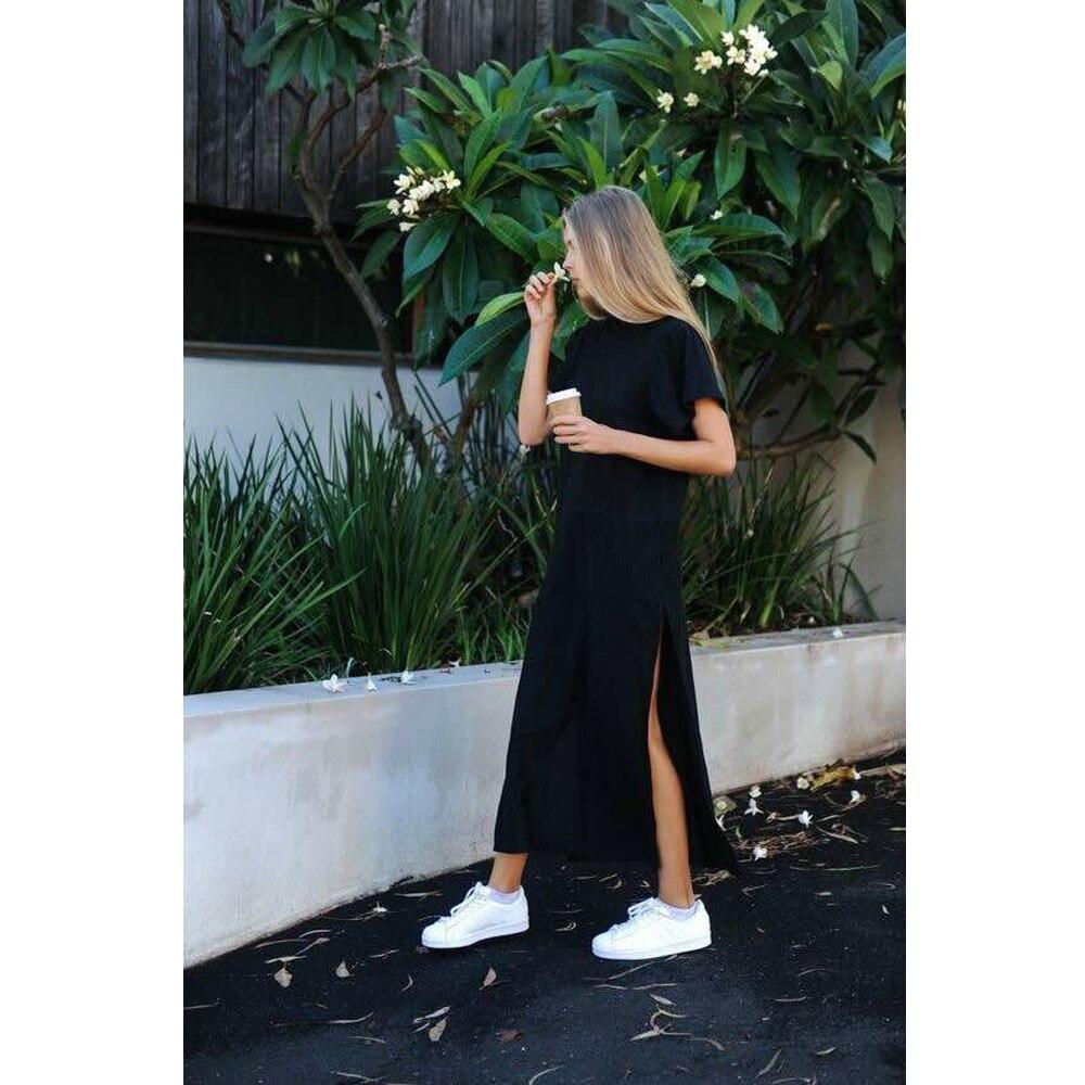 Платье-футболка женское длинное с разрезом, пикантное вечернее облегающее элегантное винтажное повседневное хлопковое черное с запахом вечерние длинным рукавом, лето-осень | Женская одежда | АлиЭкспресс