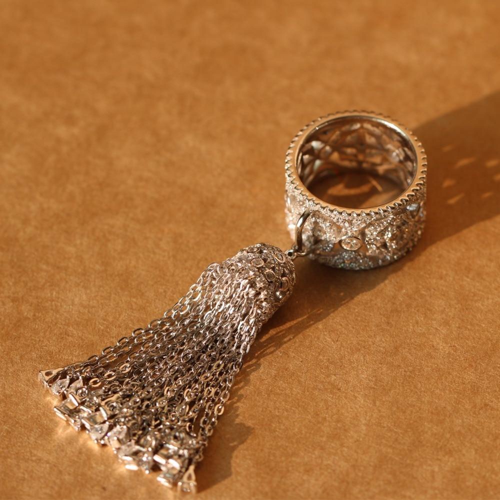 Anillos ajustables de Plata de Ley 925 de la famosa marca Royal Tassel Crown para mujeres con circón de calidad superior