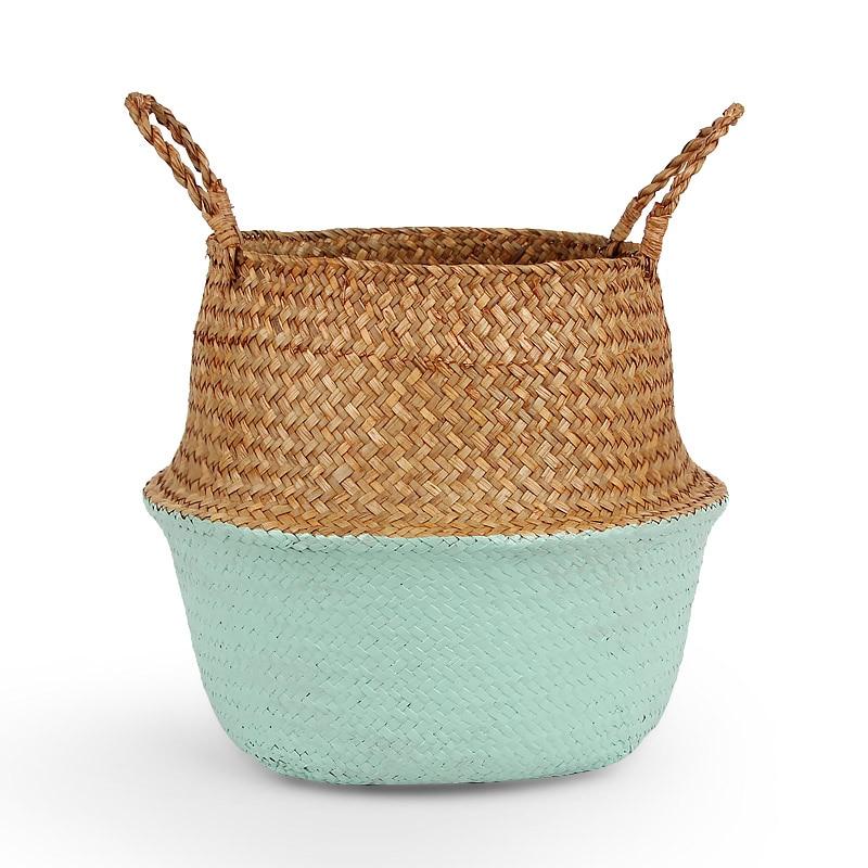 Storage Baskets Foldable Wicker Basket Rattan Seagrass Belly Garden Flower Pot Planter Basket Home Organization laundry basket