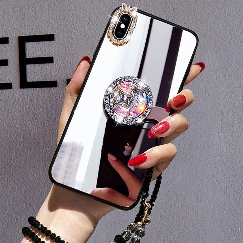 Mirror Rhinestone Makeup Women Case For Xiaomi Redmi Note 8 7 5 Pro 4X 5A 6A 5 Plus Case Glitter Diamond Finger Ring With Strap
