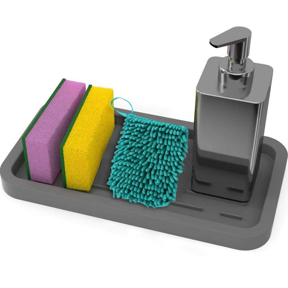 Kitchen Sink Storage Tray Sponge Holder Food Grade Silicone Drain Pan Sponge Brush Soap Dispenser Scrubber Fruit Use Accessories