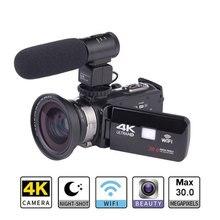 2019 nouveau Ultra HD 4 K WiFi caméra vidéo numérique 3.0 pouces IPS écran tactile 30MP 16X ZOOM + Microphone externe + objectif grand Angle