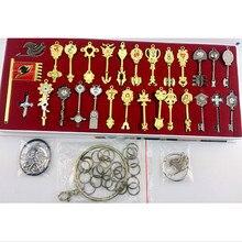 29 pièces/ensemble queue de fée Lucy Cosplay clé porte-clés échelle & gratuit rose tatouage heart filia signe du zodiaque or clé pendentifs pour enfants