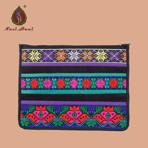 2 colors Ethnic cross stitch Day Clutches Canvas briefcase fashion Mobile phone bags Laptop bags vintage women Clutches