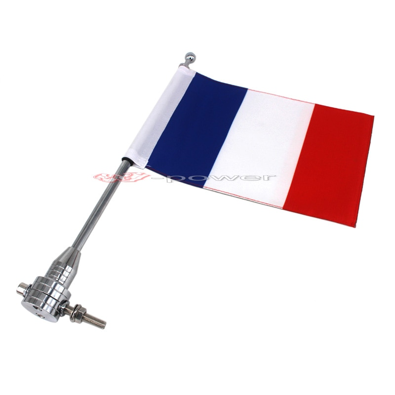 Para Harley Touring Road King Glide y flht cromo motocicleta CNC aluminio montaje trasero lateral portaequipajes asta vertical de bandera Francia