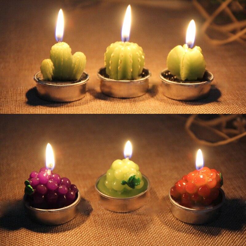 Velas creativas 3D de Cactus para decoración del hogar, velas perfumadas sin humo de plantas simuladas, regalo del Día de San Valentín, ornamento de fiesta HB 1 pieza