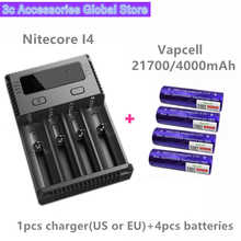 Vapcell 4pcs INR 21700 4000mah 15A li-ion rechargeable battery with Nitecore new I4 Digi charger LCD Intelligent for smoke E-CIG