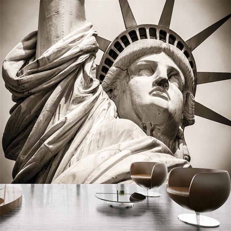 Personalizar cualquier tamaño Estatua de la libertad paisaje de ciudad sala de estar Grandes murales 3D personalidad hotel temático KTV papel pintado con foto 3D