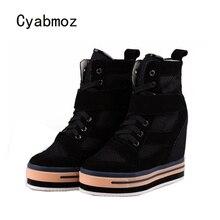 Cyabmoz Frauen Höhe Zunehmende Dicken boden Frau Plattform Schuhe High top Breathable High heels Keil Damen Schuhe stiefeletten
