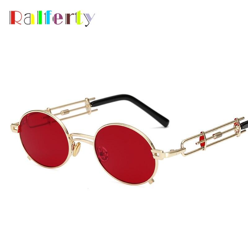 Ralferty 2018 único Vintage Steampunk gafas de sol mujeres hombres diseñador oro gafas rojas accesorios femeninos Retro Punk Oculos B010
