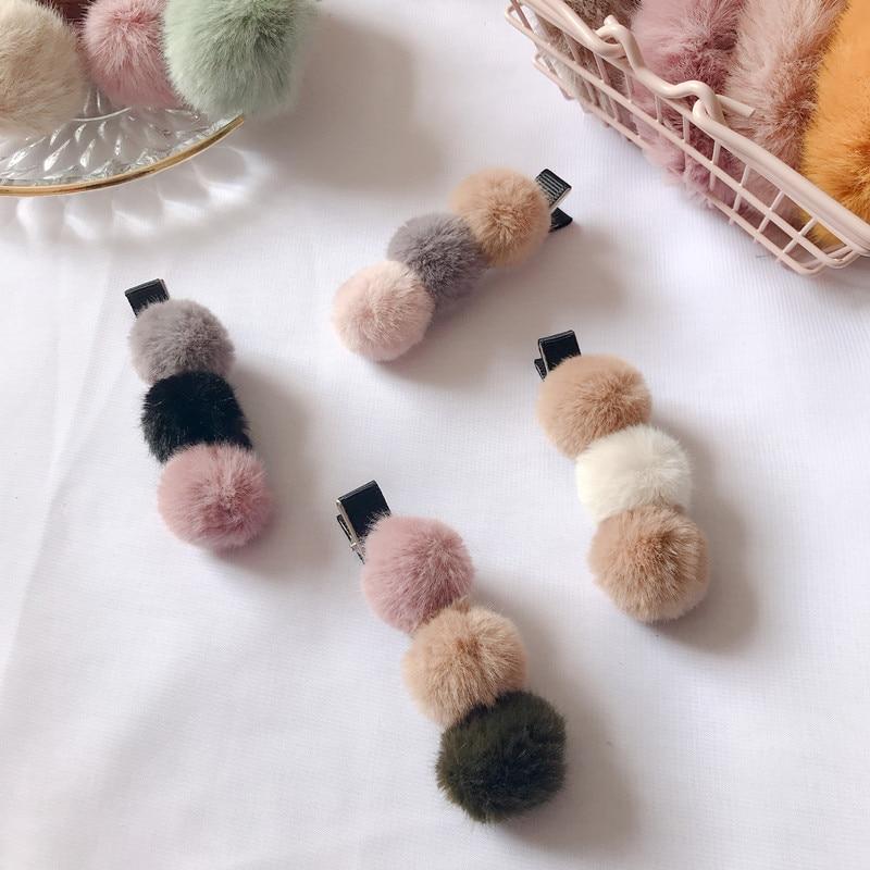 Bonito coreano pompom de pele mini bola grampos de cabelo barrettes para bebê crianças hairpins headwear feminino acessórios para o cabelo das meninas presente