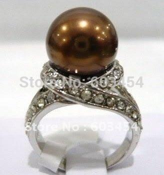 БЕСПЛАТНАЯ ДОСТАВКА >>>@@ 12 мм Шоколад Pearl серебряный Кристалл Кольцо size6.7.8.9.10/Бесплатная Доставка 1 Шт.