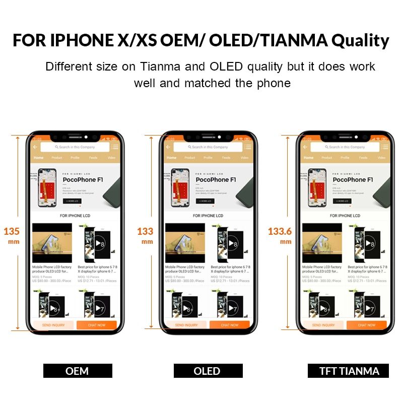 Grade For iPhone XS OEM LCD Display For IPhone XS AMOLED TIANMA OEM Touch Screen With Digitizer Replacement Assembly Parts Black enlarge